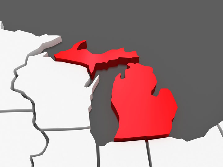3d Michigan map