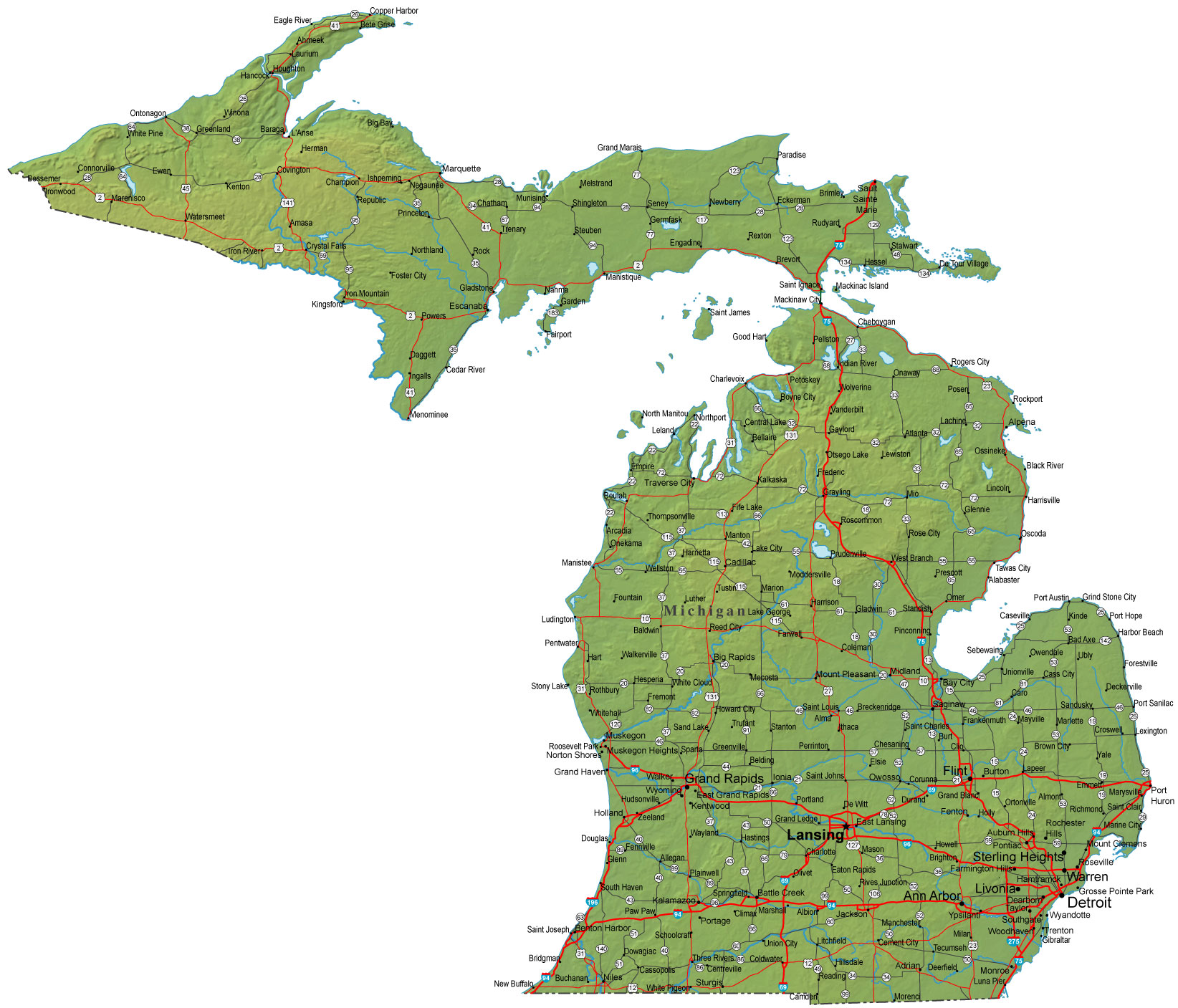 Map Of Michigan Michigan Maps - Mapsof.net