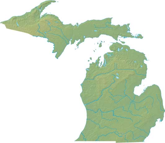 Michigan relief map